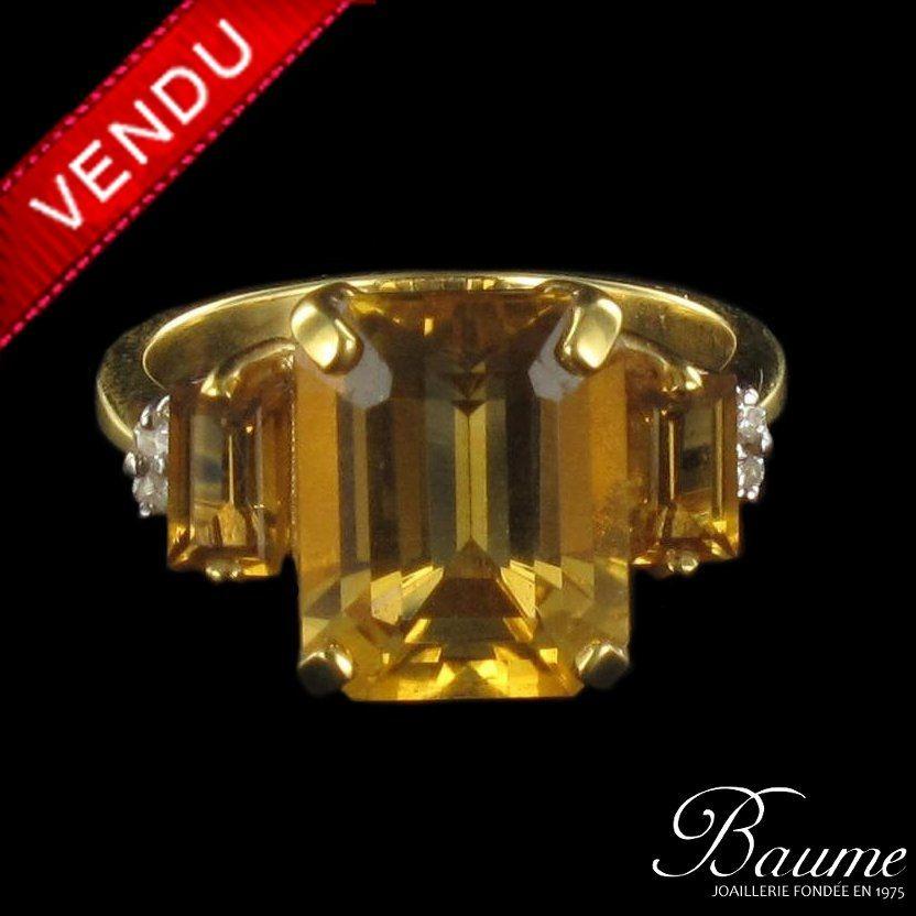 Bague citrines et diamants