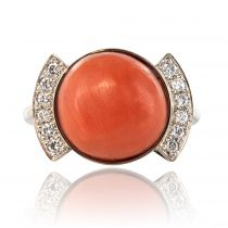 Bague corail et diamants