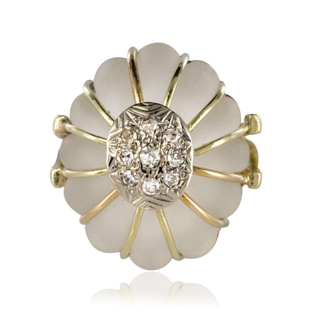 Bague cristal de roche or diamants