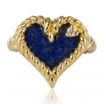 Bague cœur lapis lazuli vintage