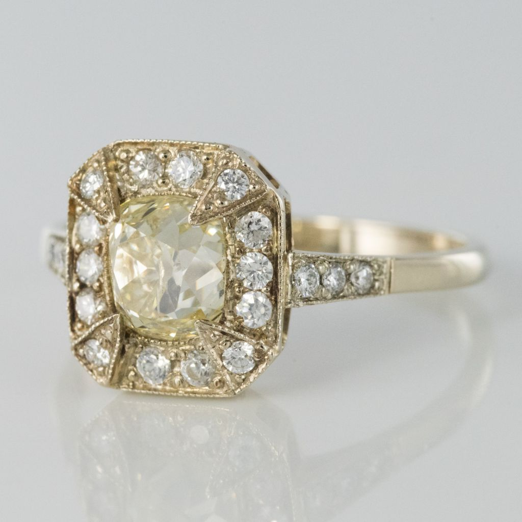 Bague diamant champagne et diamants brillants