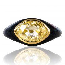 Bague diamant jaune et émail noir