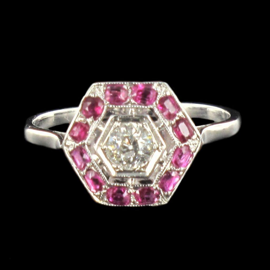 Bague diamant rubis calibrés ancienne