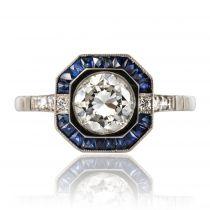 Bague diamant saphirs style art déco