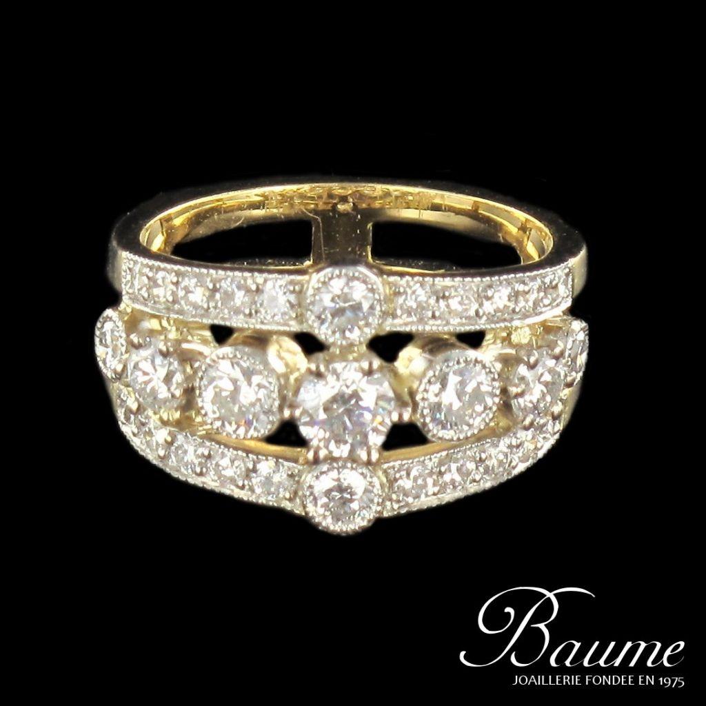 Bague diamants, or jaune et platine