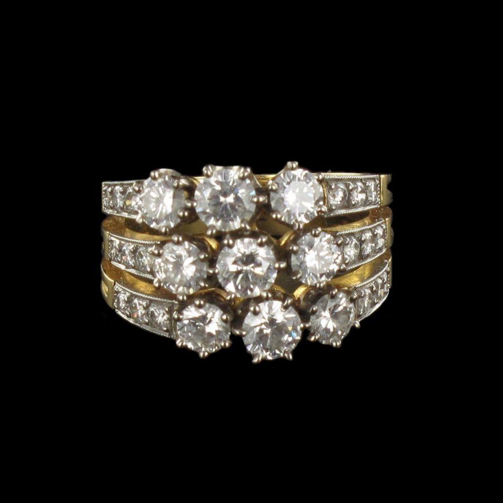 Bague diamants 3 anneaux G 18