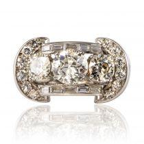 Bague diamants ancienne art déco retro