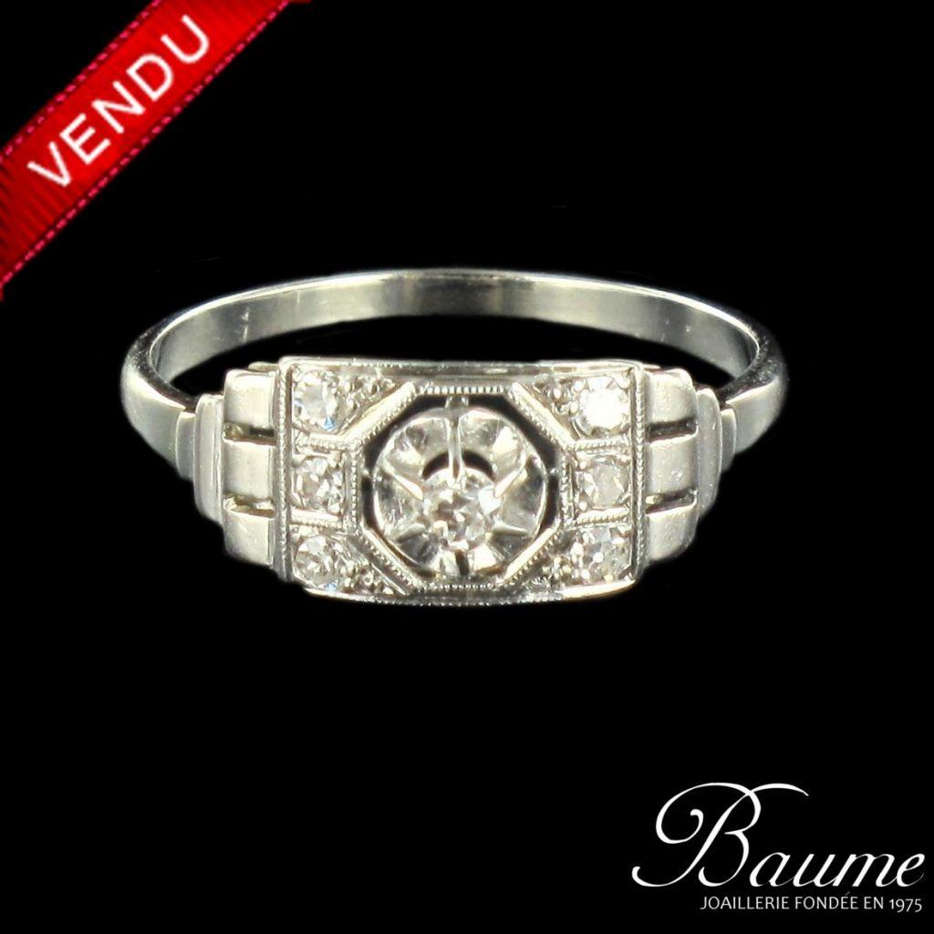 Bague diamants Art déco 1930