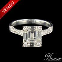 Bague diamants baguettes en or blanc
