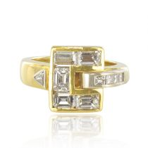 Bague diamants baguettes en or jaune