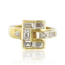 Bague diamants baguettes en or jaune