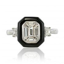 Bague diamants baguettes et agate noire