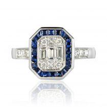 Bague diamants baguettes et saphirs calibrés