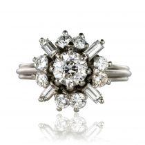 Bague diamants brillants et diamants baguettes