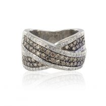 Bague diamants cognacs et diamants blancs