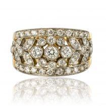 Bague diamants décor végétal
