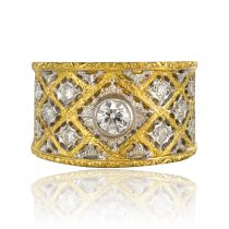 Bague diamants dentelles or jaune et or blanc