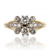 Bague diamants en or jaune et platine