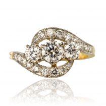 Bague diamants en trilogie