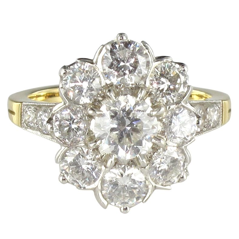 Bague diamants et  or jaune, marguerite