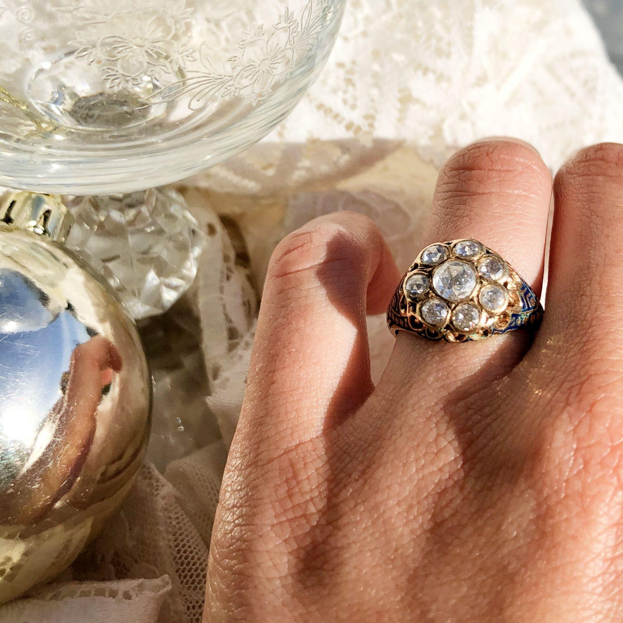 Bague Diamants et Email Bleu