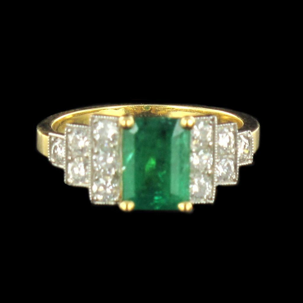 Bague Diamants et Émeraude en or jaune G 30