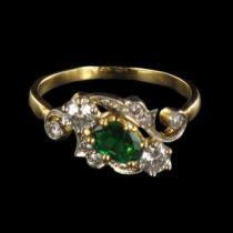 Bague Diamants et Emeraude Ors jaune et blanc G 16