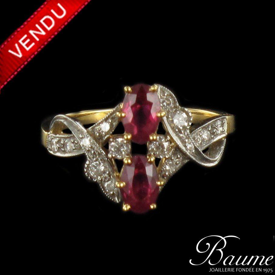 Bague diamants et rubis, or jaune et platine