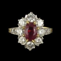 Bague diamants et rubis marguerite G 03-07