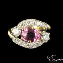 Bague diamants et saphir rose