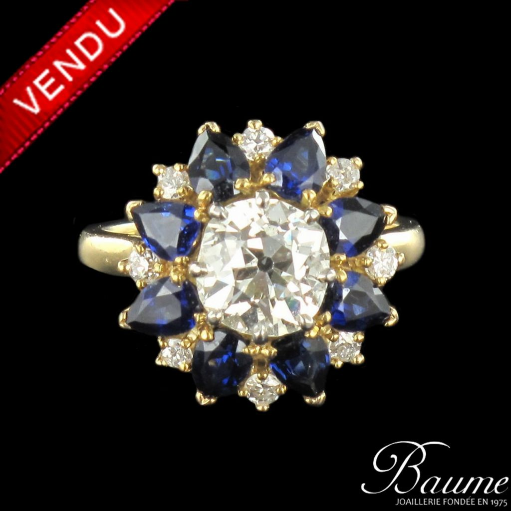 Bague diamants et saphirs