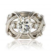 Bague Diamants Fils d\'or blanc