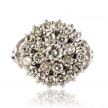 Bague diamants fils or blanc