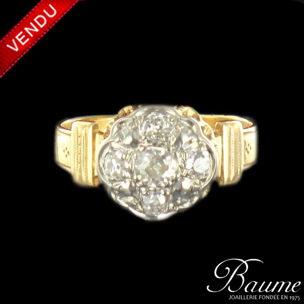 Bague diamants fleur