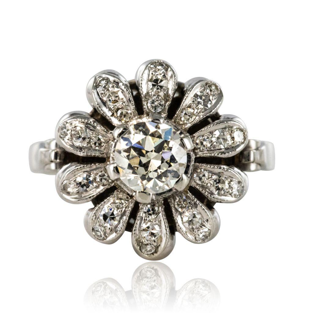 Bague diamants fleur