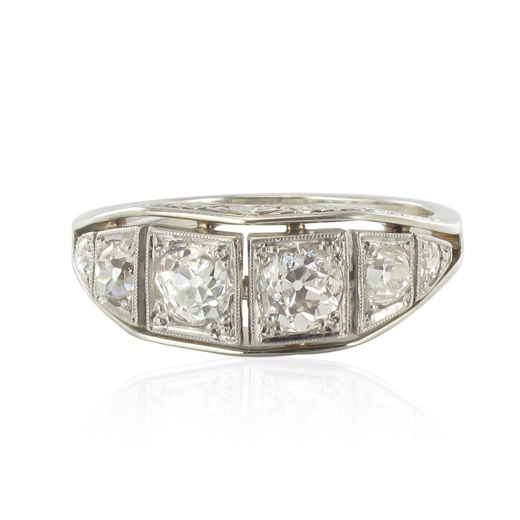 Bague diamants jarretière ancienne art déco