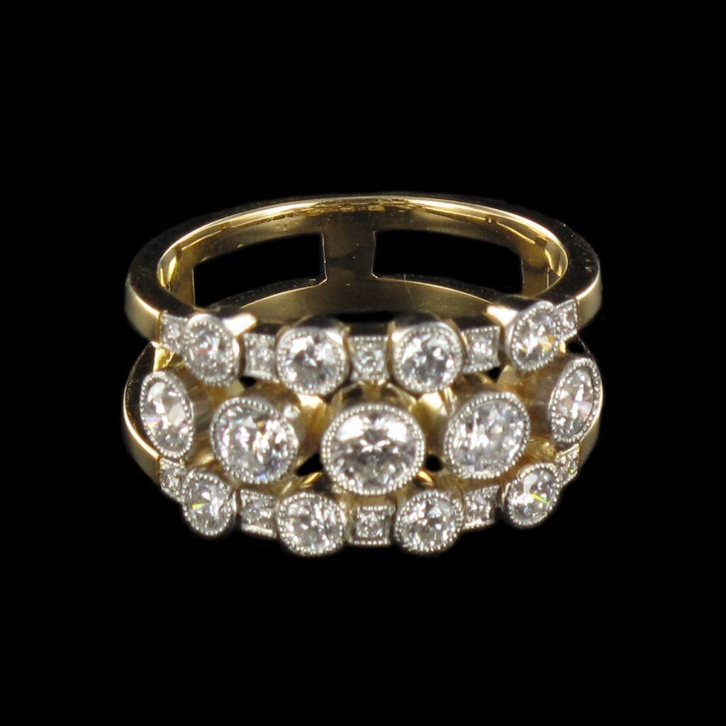 Bague diamants Jarretière G 15