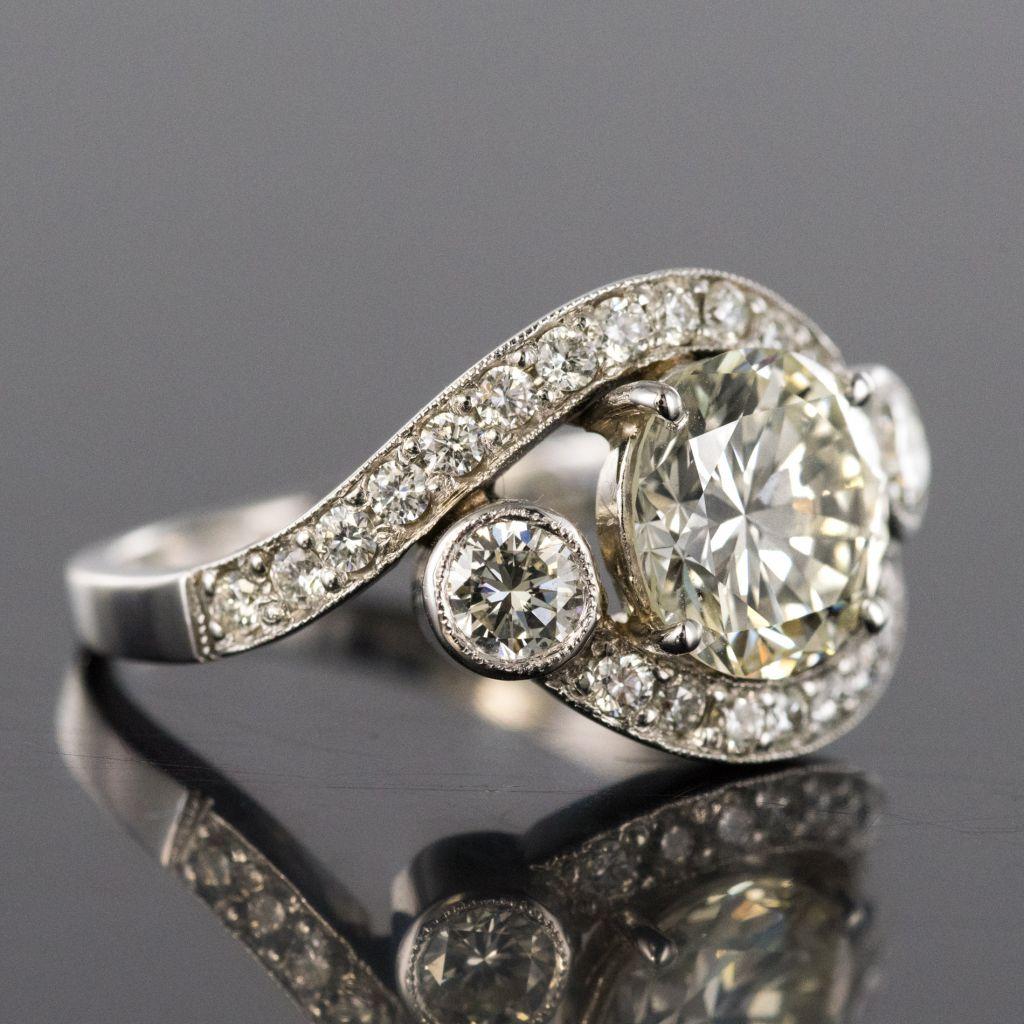 Bague diamants or blanc création