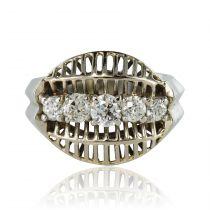 Bague diamants or blanc vintage
