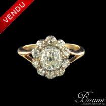 Bague diamants or rose argent