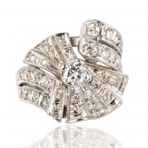 Bague diamants platine asymétrique