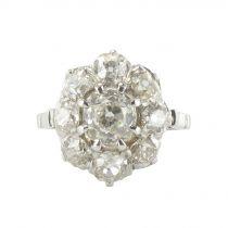 Bague diamants platine marguerite