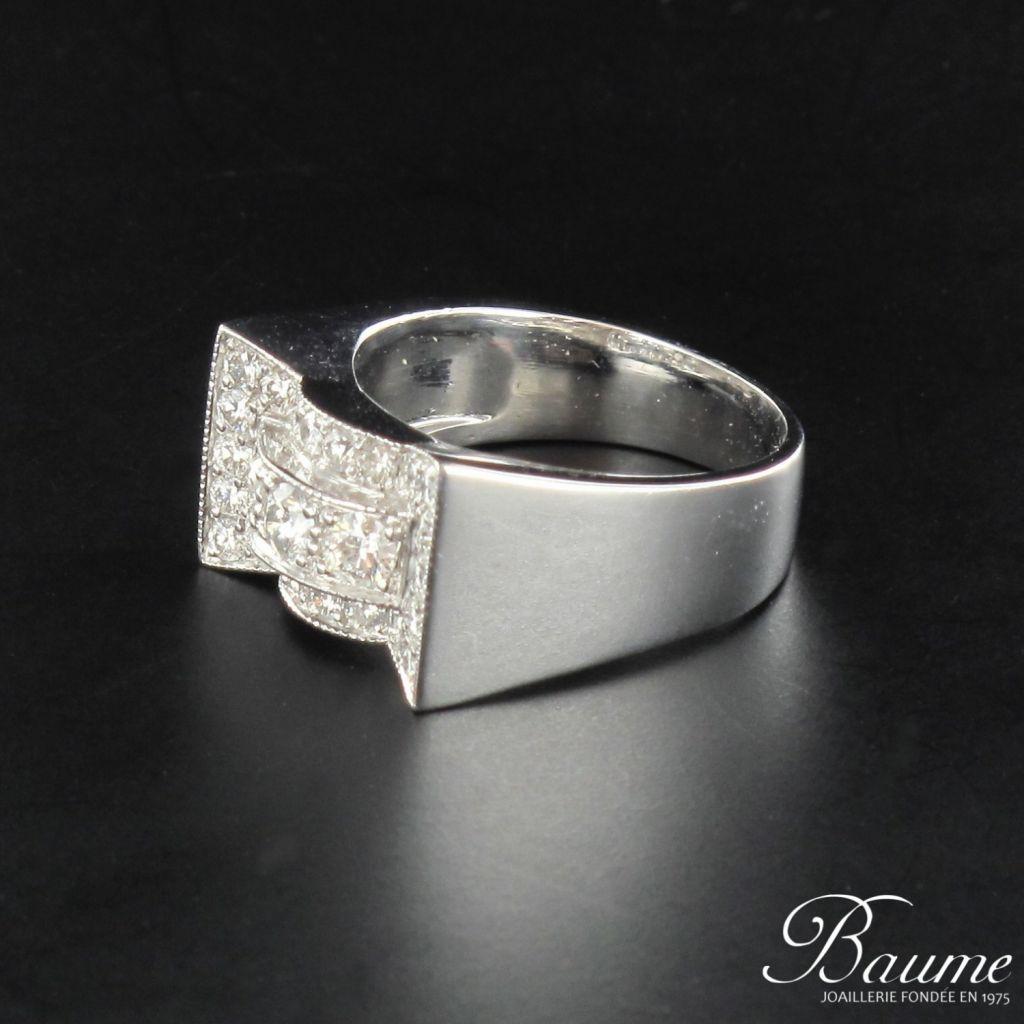 Favori Bague diamants style art déco or blanc - Bijouxbaume TK41