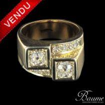 Bague diamants tank, or jaune et platine