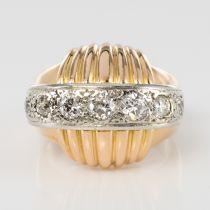Bague diamants vintage à godrons