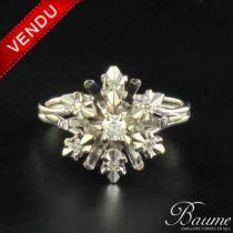 Bague diamants vintage style flocons