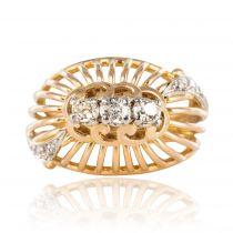 Bague dôme fils d\'or et diamants