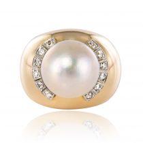 Bague dôme perle et diamants