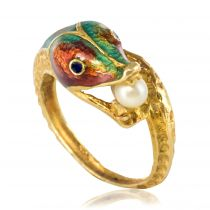 Bague dragon émaillé perle