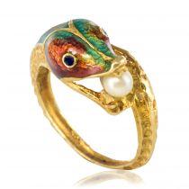 Bague dragon émaillé perle